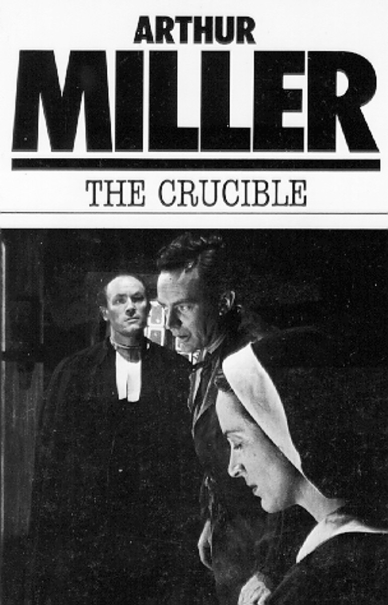 "Playbook cover for ""The Crucible,"" by Arthur Miller (1952) depicting the Salem Witch Trials."
