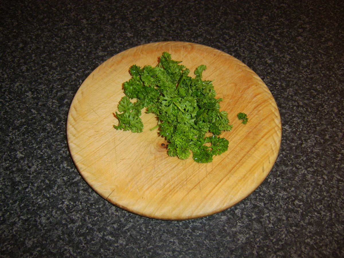 The parsley should be washed and roughly chopped