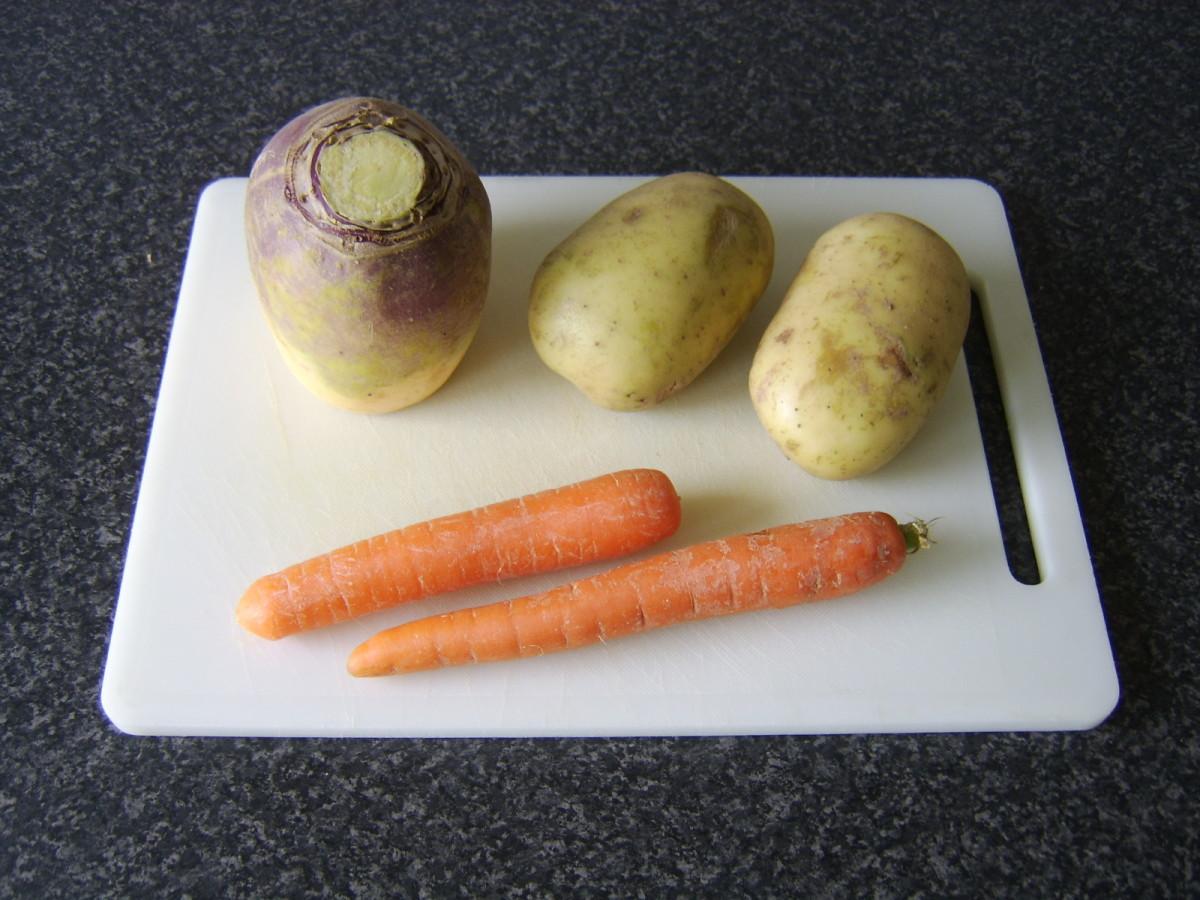 Small turnip, potatoes and carrots