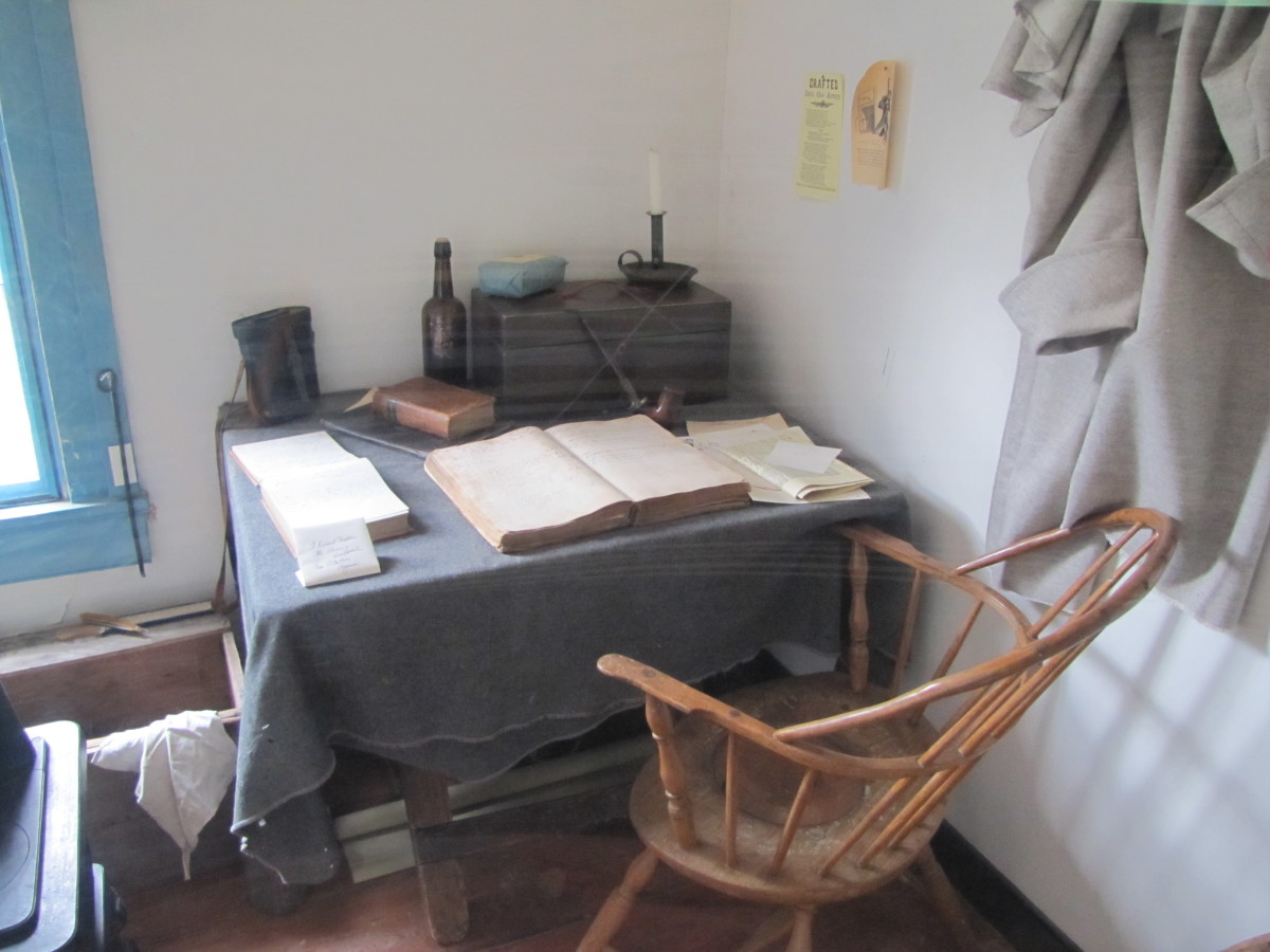 An officer might take up temporary quarters in a  house with the troops in tents on the grounds. He could write up his reports at this temporary desk and then make an entry in his personal diary.