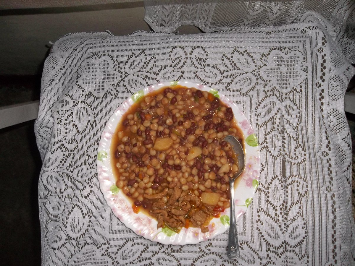 A plate of Githeri: Maize and beans, first boiled then fried to taste