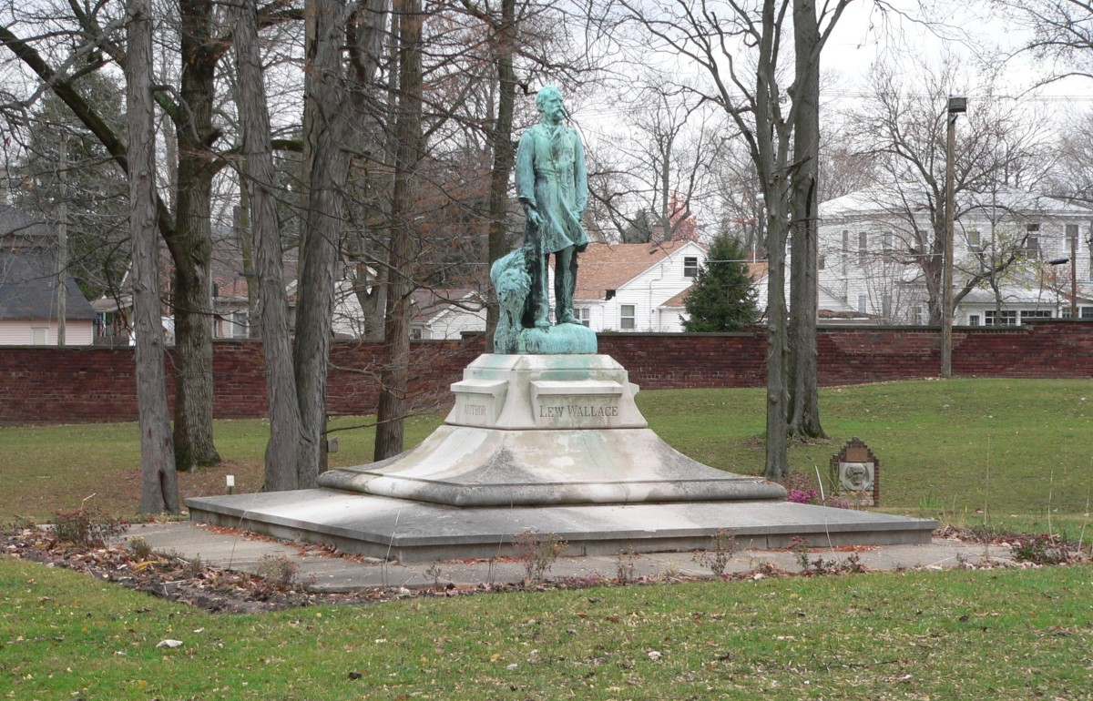 Lew Wallace statue on the grounds of the  Wallace Study in Crawfordsville, Indiana. Replica of statue by Andrew O'Connor in the National Statuary Hall, US Capitol, Washington D.C.