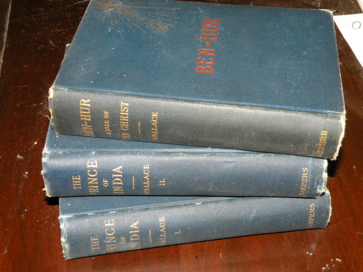 """1st edition """"Ben-Hur"""" published 1880 by Harper & Brothers.  1st edition """"The Prince of India"""" vols I & II published 1893 by Harper & Brothers."""