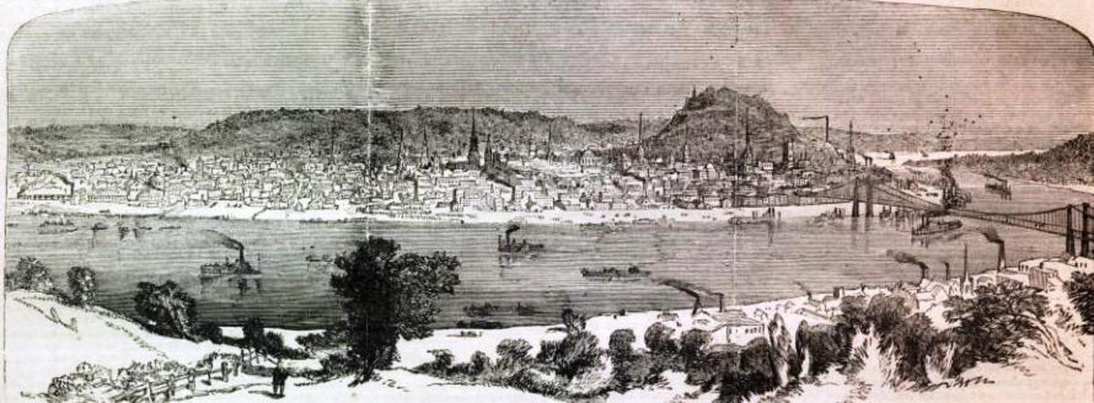 Cincinnati from across the Ohio River - Harper's Weekly,  Sept. 27, 1862.