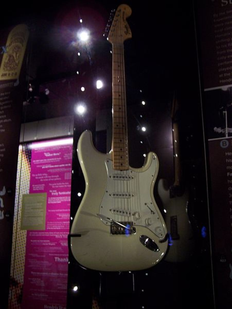 Jimi Hendrix Guitar Played at Woodstock 69.  On Exhibit at Experience Music Project in Seattle, WA