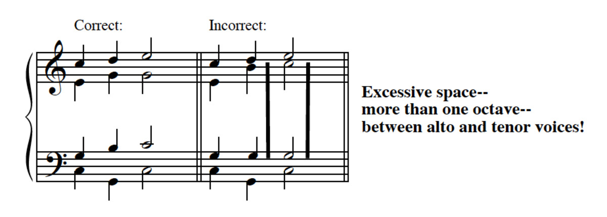 "Example 7--""Passing-tone"" versions of I-V-I, correct and incorrect."