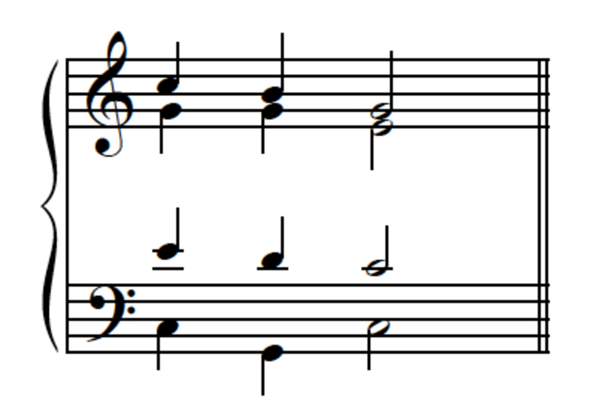 Example 10--Passing-tone version with exposed leading-tone (LT in the soprano.)  Not good!