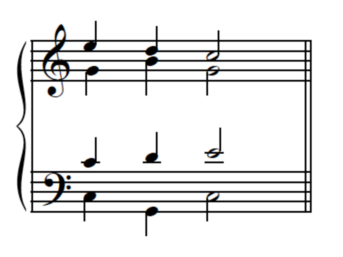 Example 12--Passing-tone version in contrary motion.
