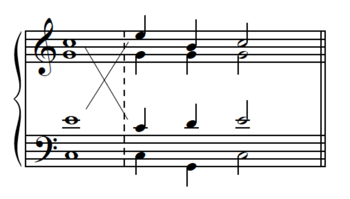 Example 15--I-V-I with leaping soprano, and its conversion to neighbor-tone version via voice exchanges.