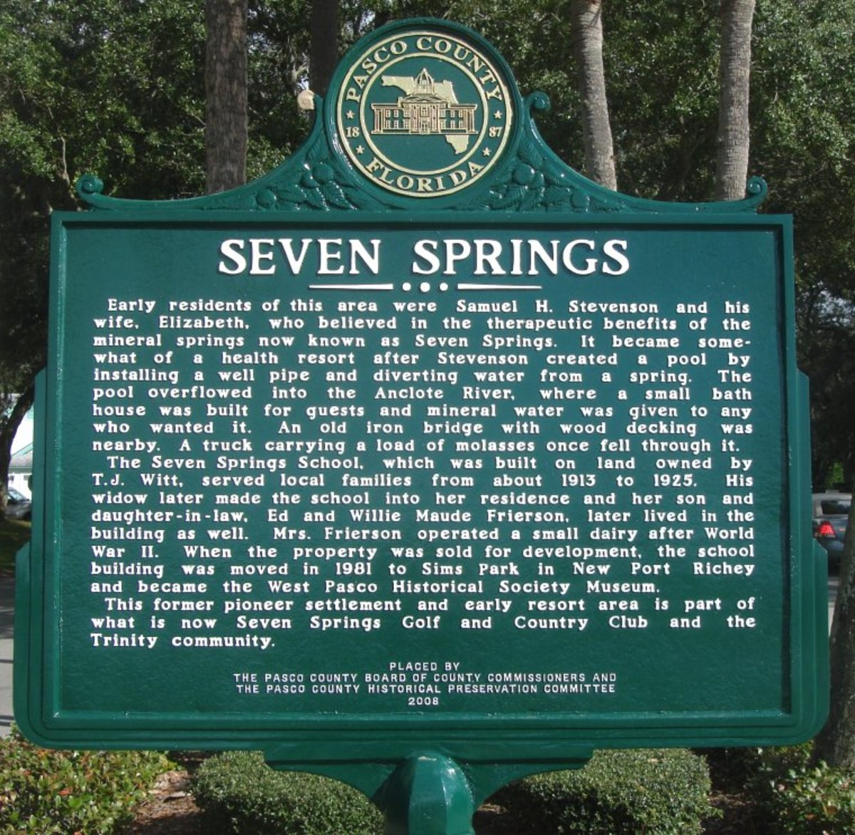 The Seven Springs historical marker
