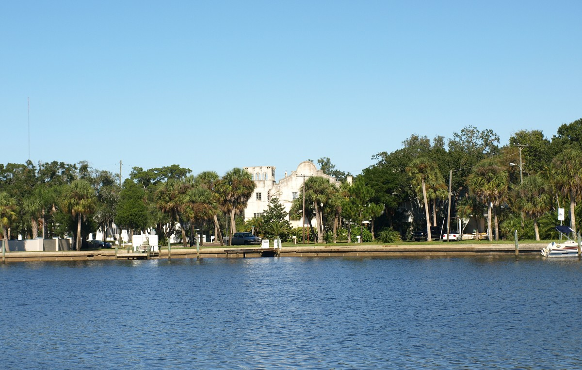 Spring Branch of Whitcomb Bayou, sometimes called Spring Bayou.  In the distance you can see a church building of the Greek Orthodox style built in 1920.