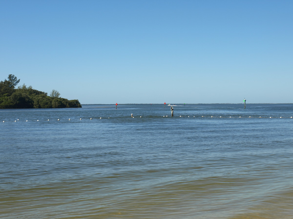 Mouth of the Anclote River from the beach at Anclote River Park.