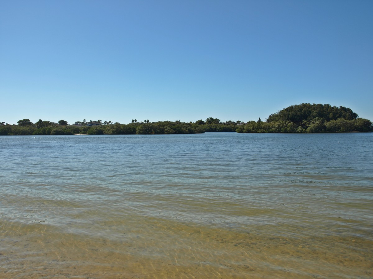 The mouth of the Anclote River and some of the islands found here.  Taken from Anclote River Park.