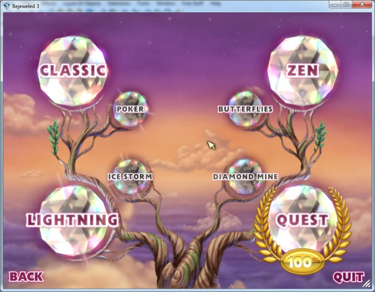Main game menu for Bejeweled 3, with the four hidden games unlocked, and the Quest mode completed