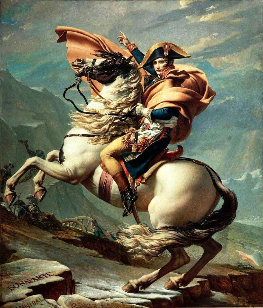 "Jacques-Louis David, ""Napoleon Crossing the Alps"" (1800)."