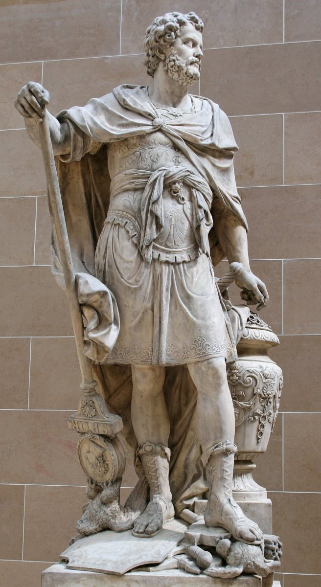 Sabastien Slodtz, statue of Hannibal counting the rings of the Roman knights killed at the 216 BC Battle of Cannae (1704).