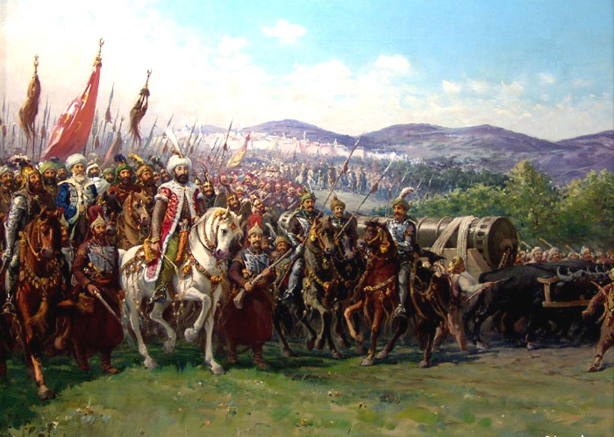 Mehmet II conquering Constantinople.