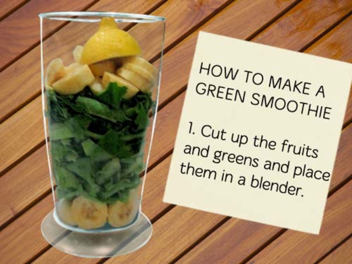Step 1: Choose fruits and vegetables. Cut them up.