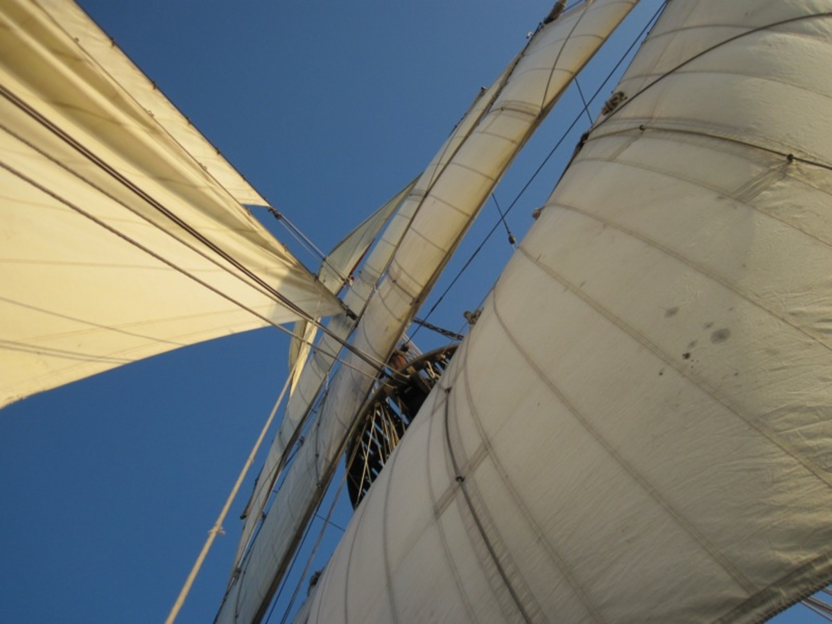 The Hawaiian Chieftain is gorgeous, too. Here I stood on the forecastle and looked up through her sails.