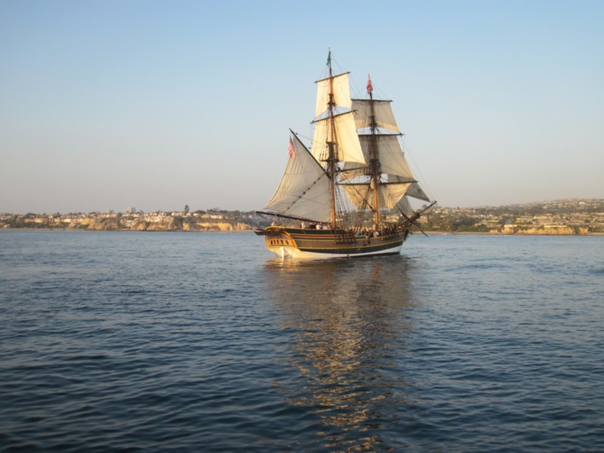 "The Lady Washington on Newport Bay. As Jack Sparrow said, ""She's such a pretty ship.""  Tall ship is no exaggeration: her mainmast is 89 feel tall!"