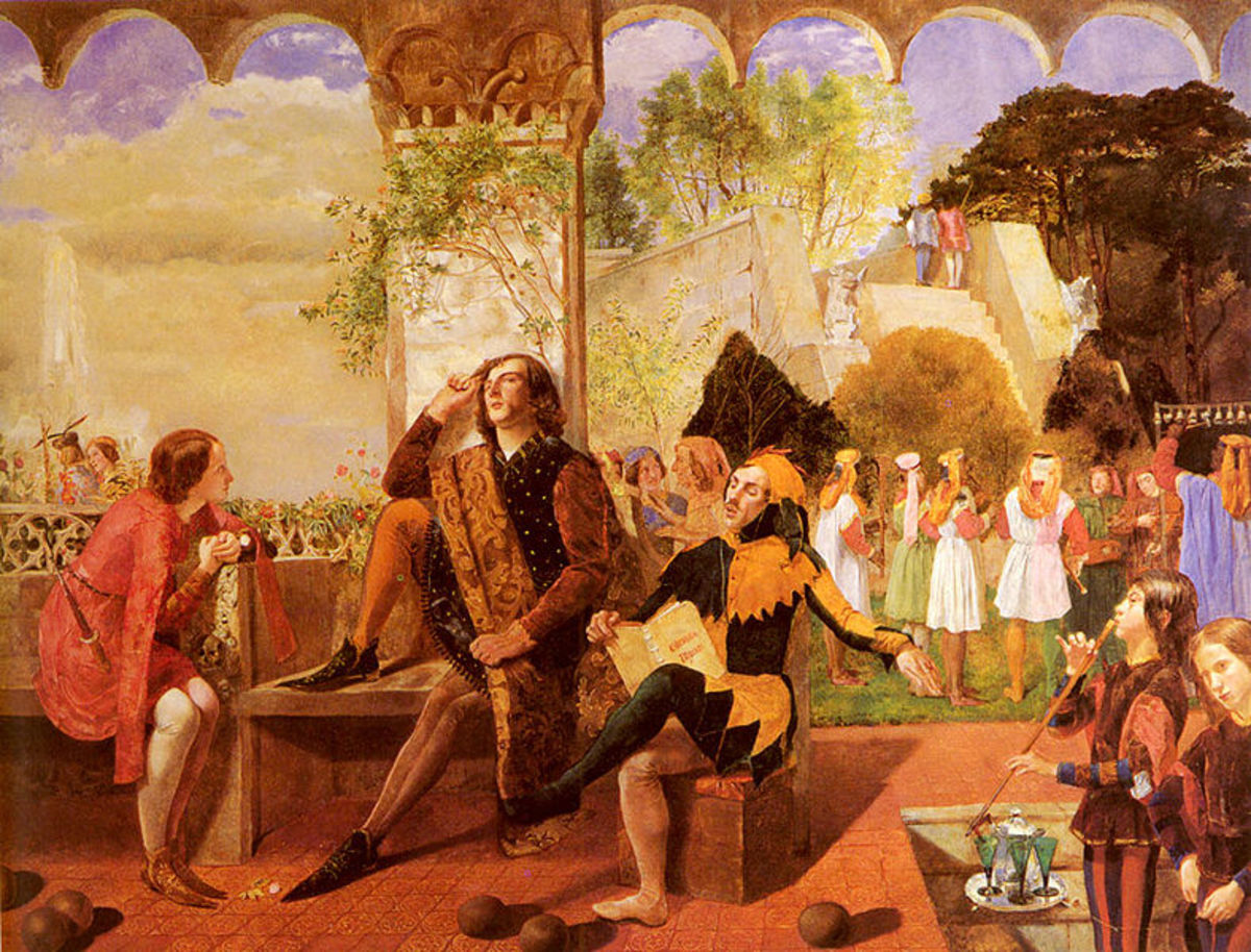 Act 2, Sc. 4 - Orsino listens to Feste, watched by Viola in disguise - by Walter Deverell