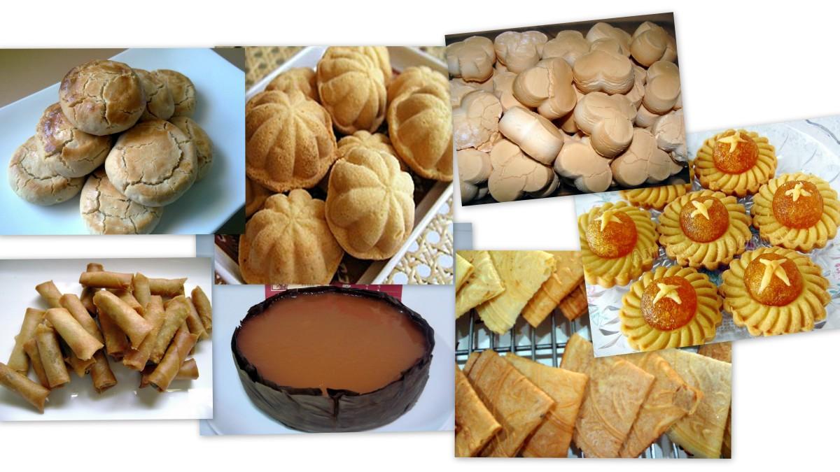 Chinese New Year cookies: From top left clockwise: peanut cookies, kueh bahulu, kueh bangkit, tart nenas,  nian kueh & spicy mini shrimp rolls.