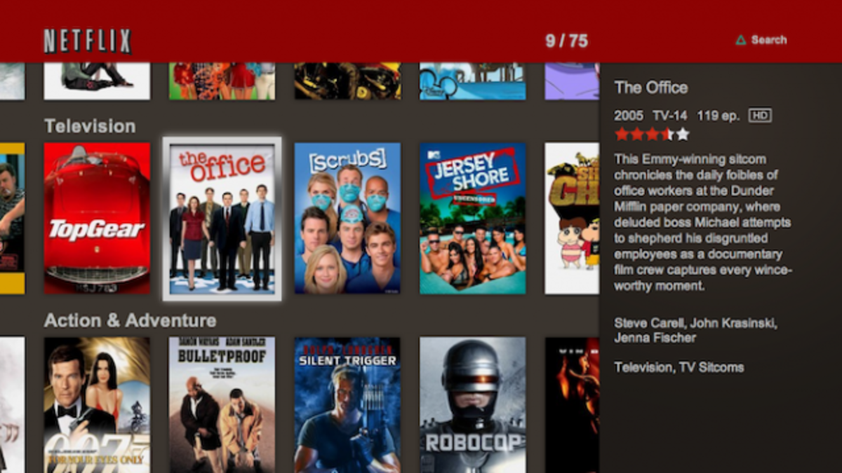 Netflix on the PS3 has thousands of movies available that subscribers can watch instantly.