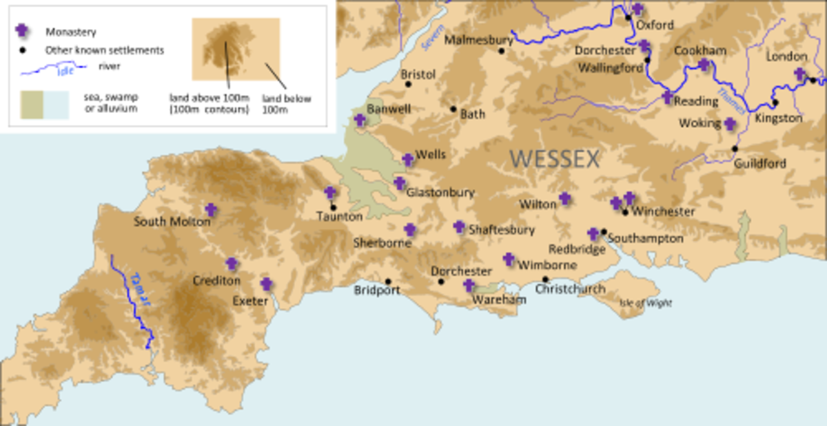 Wessex heartlands, source of Harold's income - by the time of his earldom the lands included parts of  Essex, Sussex, Surrey and parts of Kent