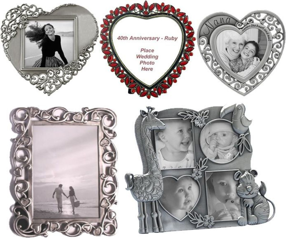 Pewter Heart Photo Frames