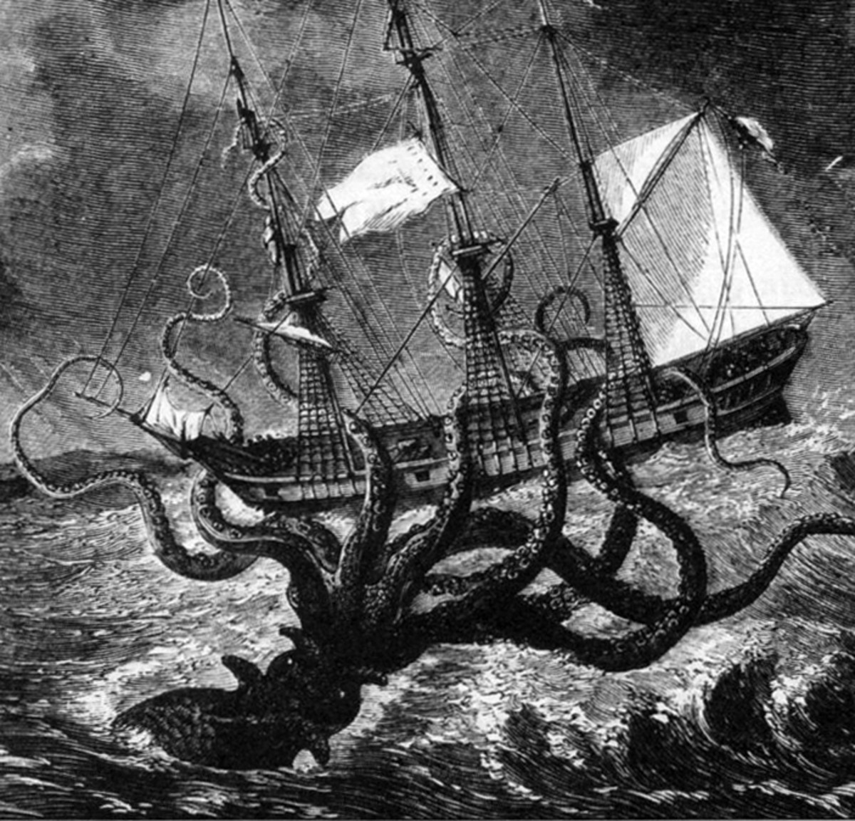 Giant octopus attacks a ship