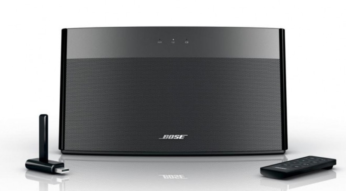The Bose SoundLink wireless speaker weighs less than three pounds and has a wireless range of 30 feet.