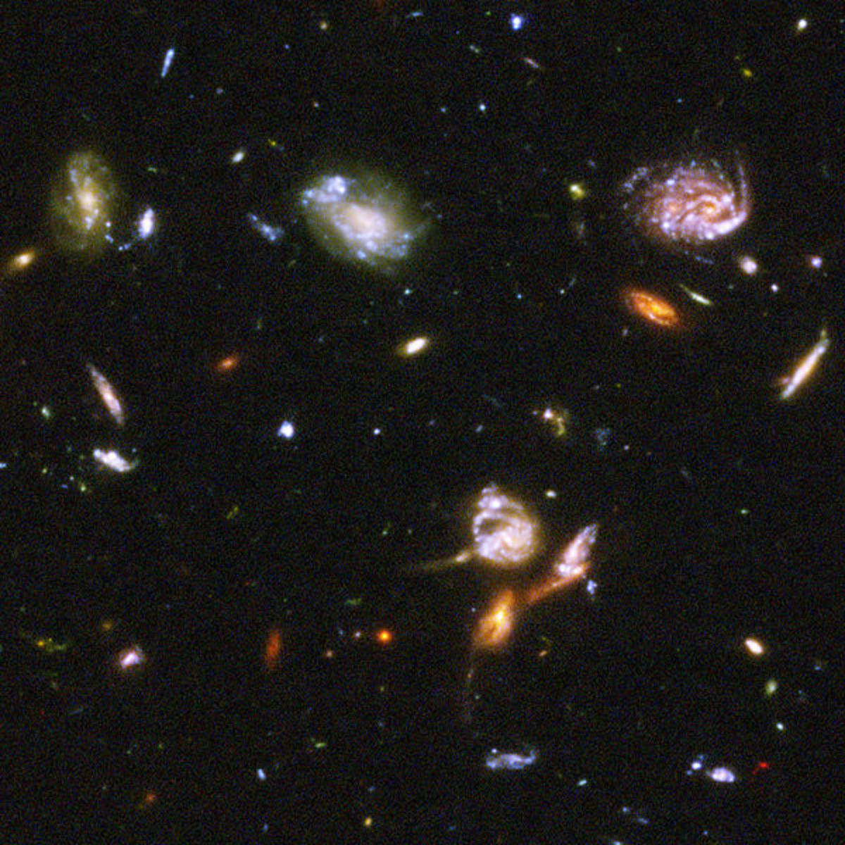 Part of the Hubble Ultra Deep Field. Even the brightest galaxies in this image have an apparent magnitude of 22.  NASA, ESA, S. Beckwith (STScI) and the HUDF Team.