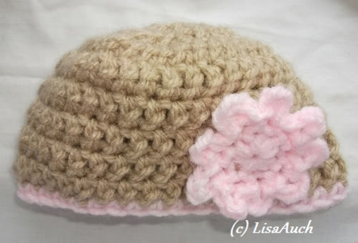 Free Crochet Pattern for this Babies Beanie on this page courtesy of LisaAuch Crochet