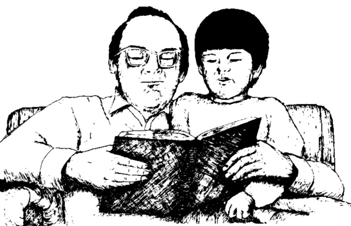 Image of a Good Father reading for his Son