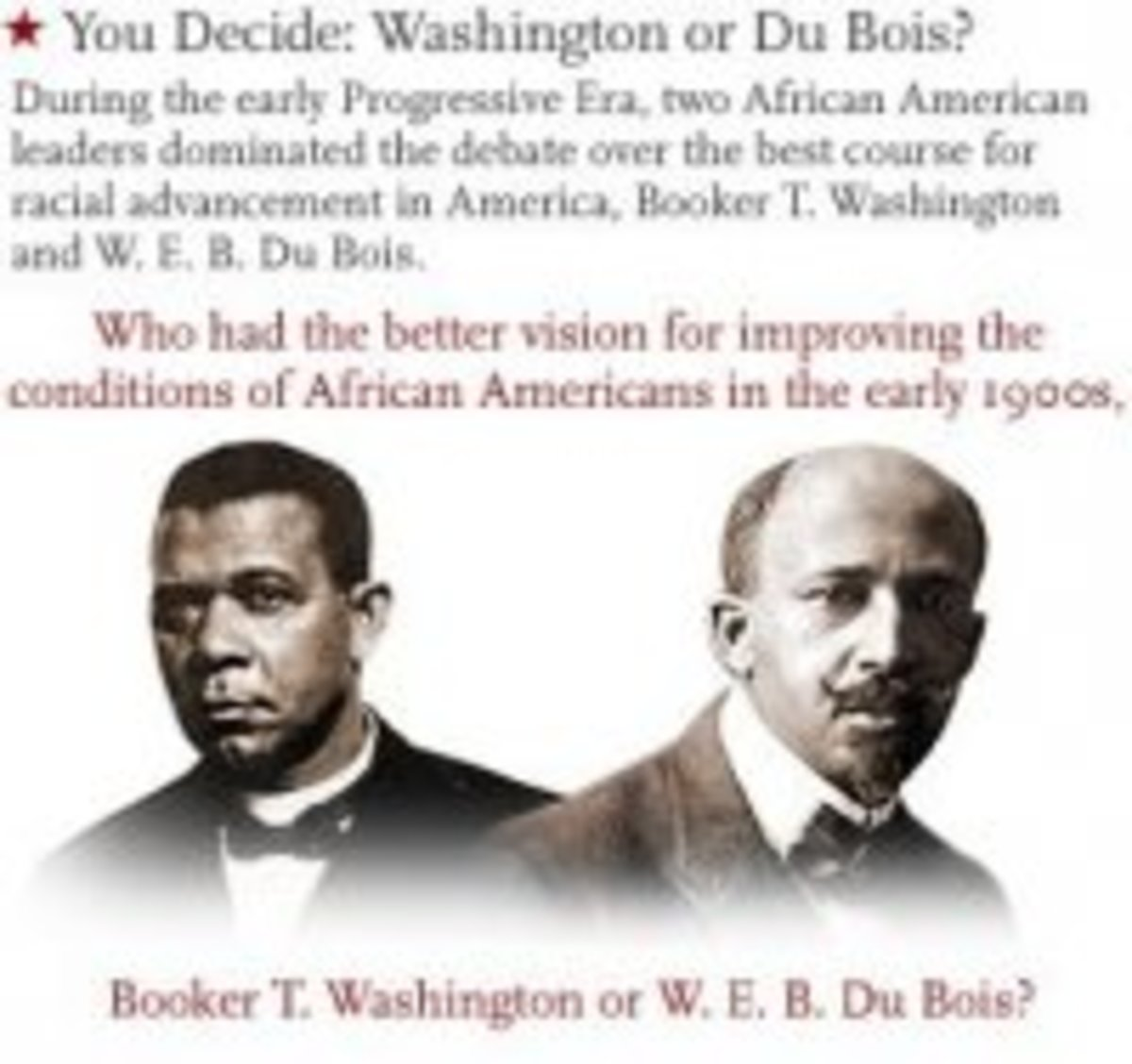 Booker t washington and w e b du bois offered different stategies dbq