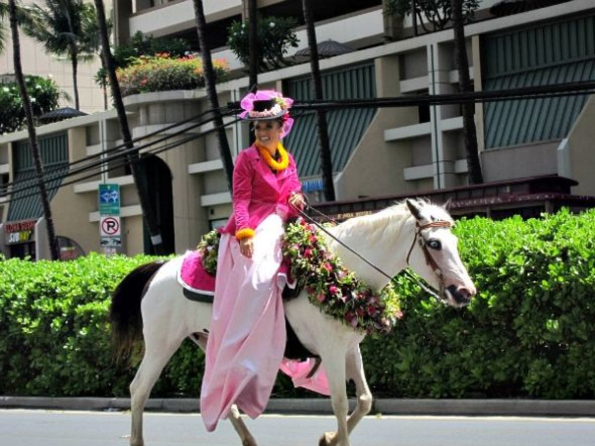 Maui Pau Attendant Rider in Honolulu King Kamehameha Day Parade