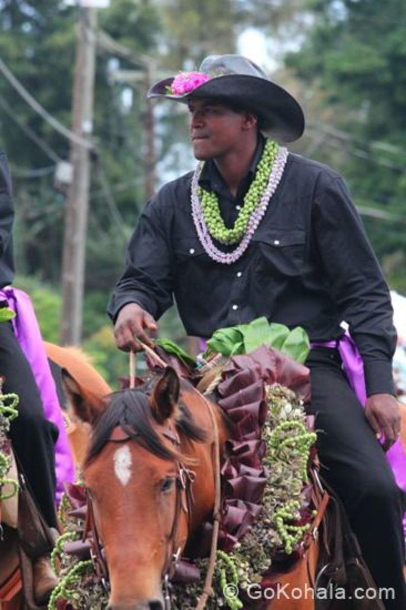 Pa'u Out Rider Representing the Island of Ni'ihau at the Kohala King Kam Parade