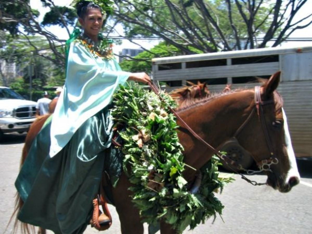 Pau Attendant Representing Island of Molokai in Honolulu's King Kamehameha Day Parade