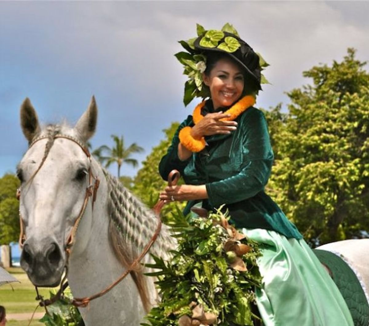 Pau Rider Representing Island of Moloka'i in Honolulu's King Kam Parade