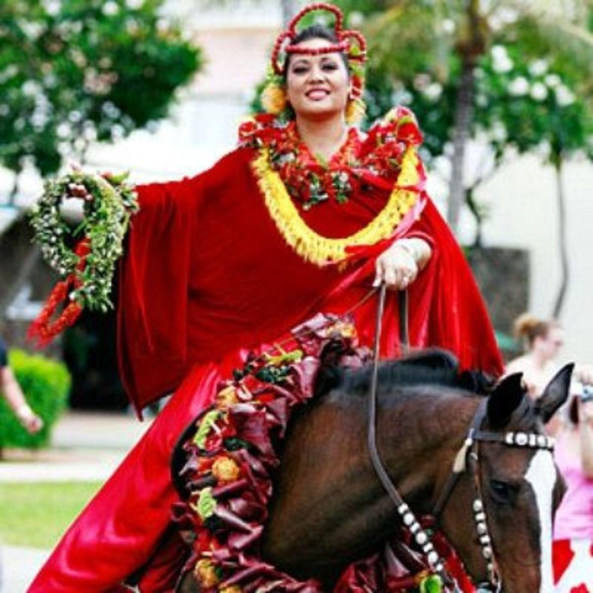Aileen Kiesel, serving as princess of the island of Hawaii in Honolulu's King Kam Parade