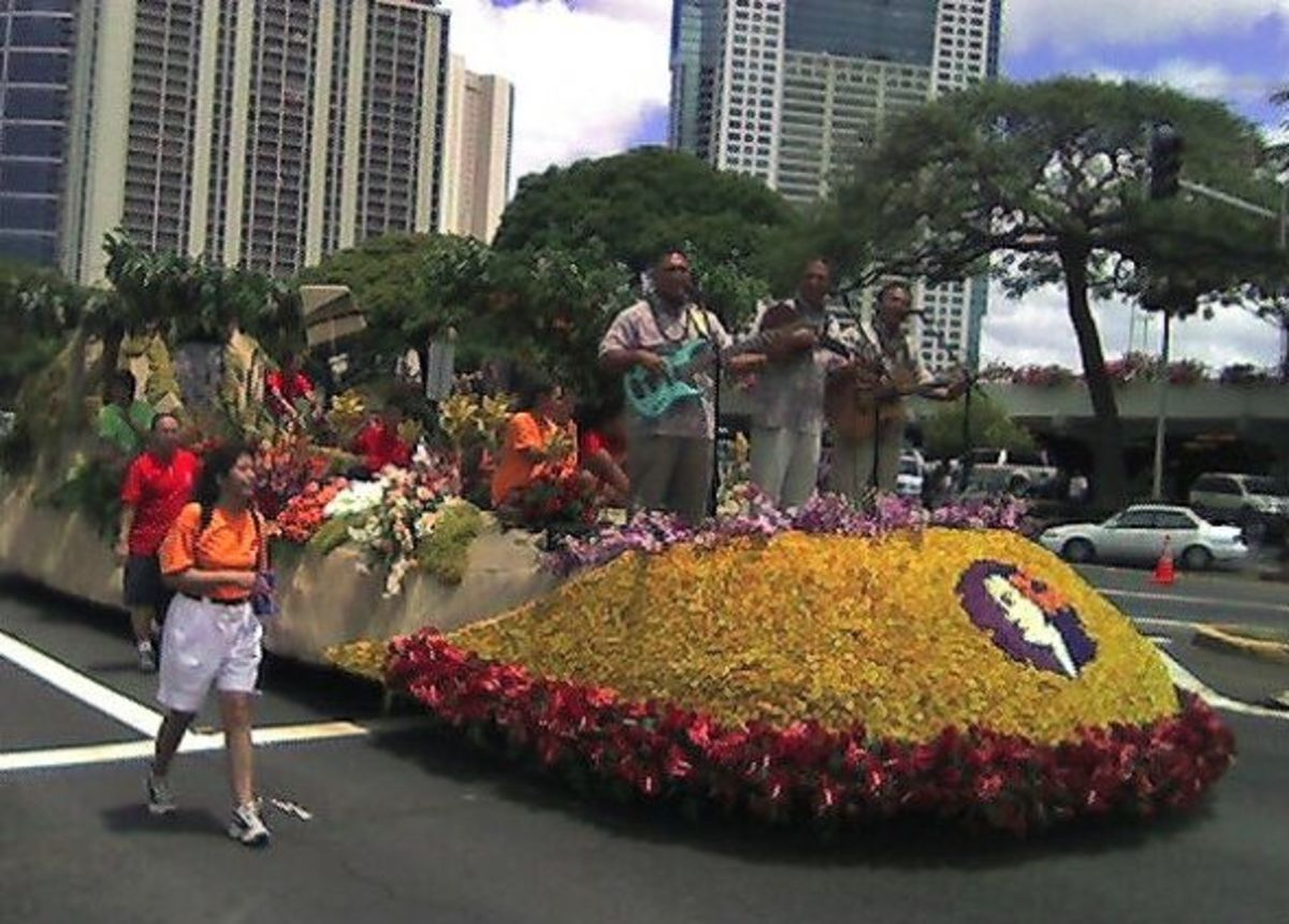 The Hawaiian Airlines float at the King Kamehameha Day Parade in Honolulu