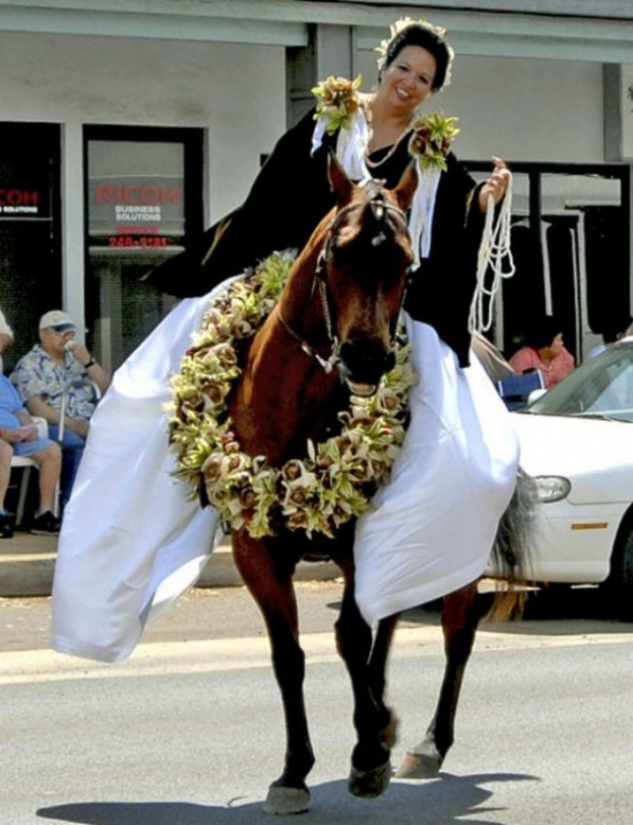 Pau Princess  Pau Rider Representing Island of Niihau in Kauai's King Kamehameha Day Parade