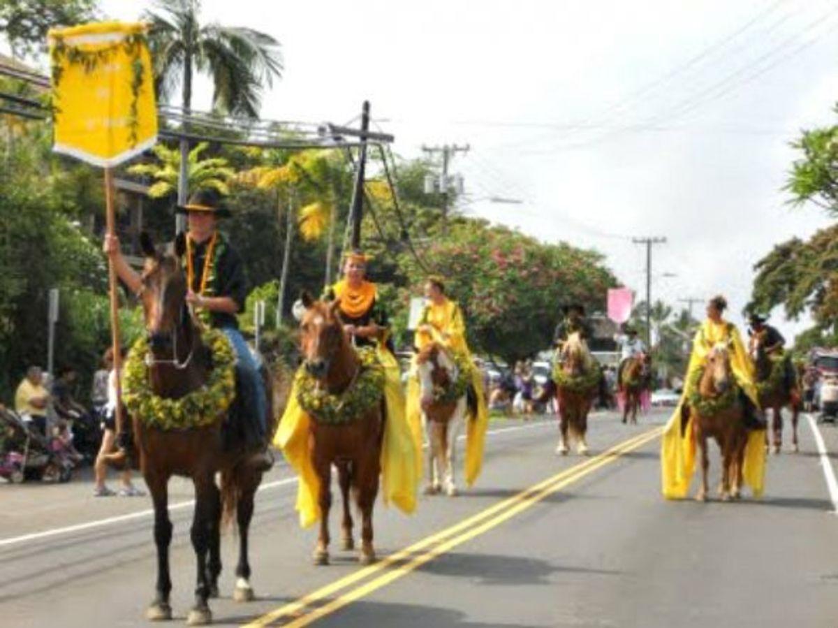 Pau Rider Representing Island of Oahu in Kona's King Kamehameha Day Parade