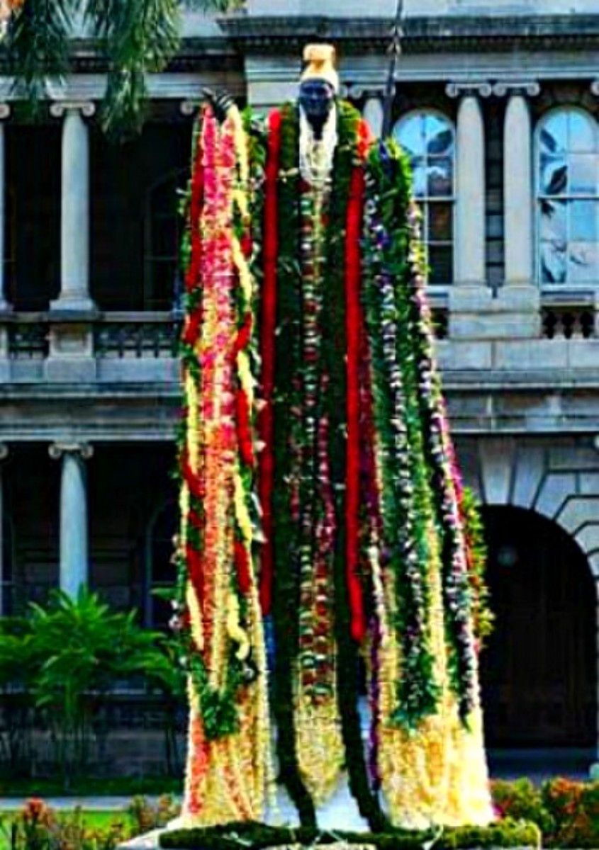 Statue of King Kamehameha I in Honolulu, Draped in Leis