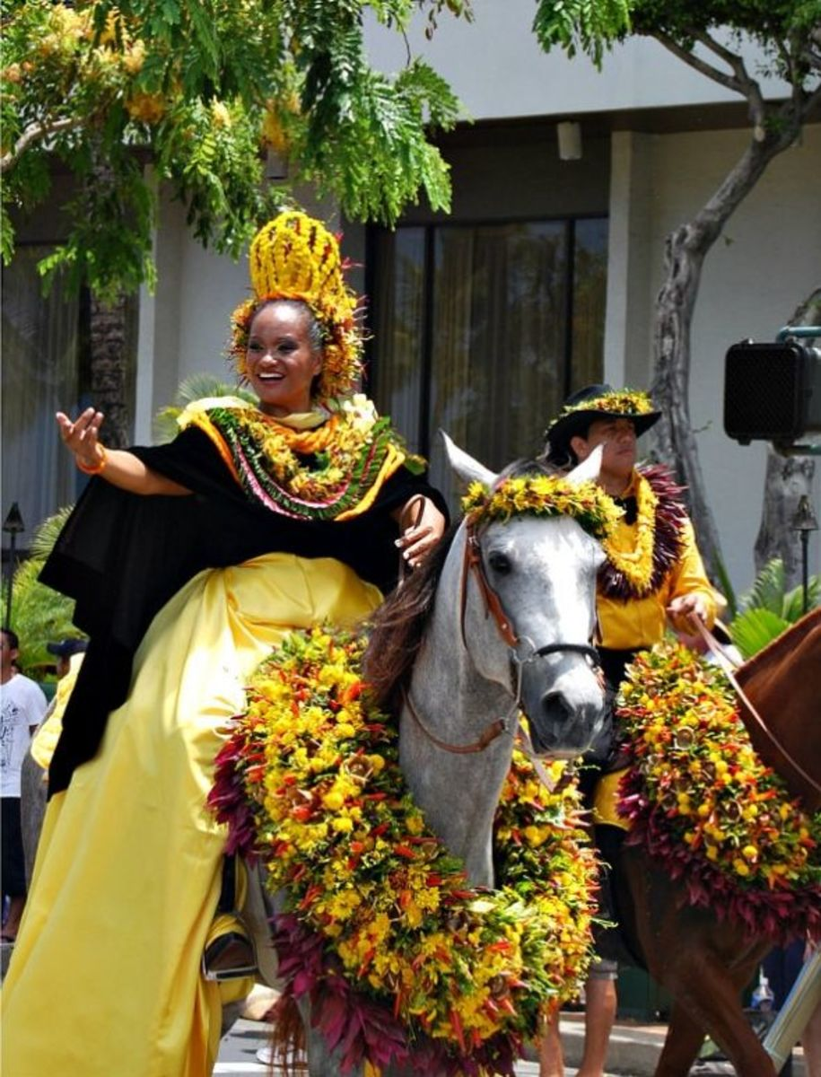 Oahu Pa'u Princess and Outrider Kamehameha Parade in Honolulu/Waikiki King Kamehameha Day Parade