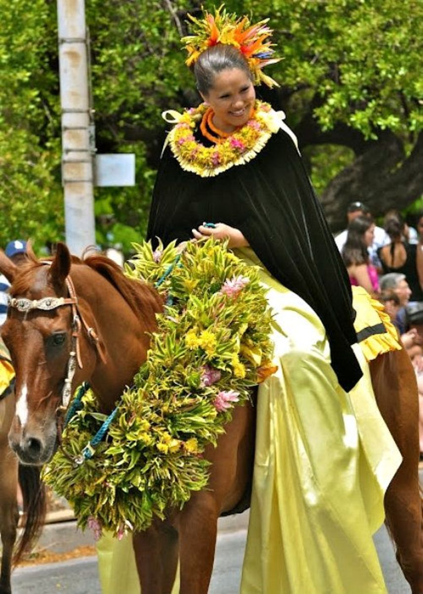 Pau Rider Representing Island of Oahu in Honolulu's King Kam Parade
