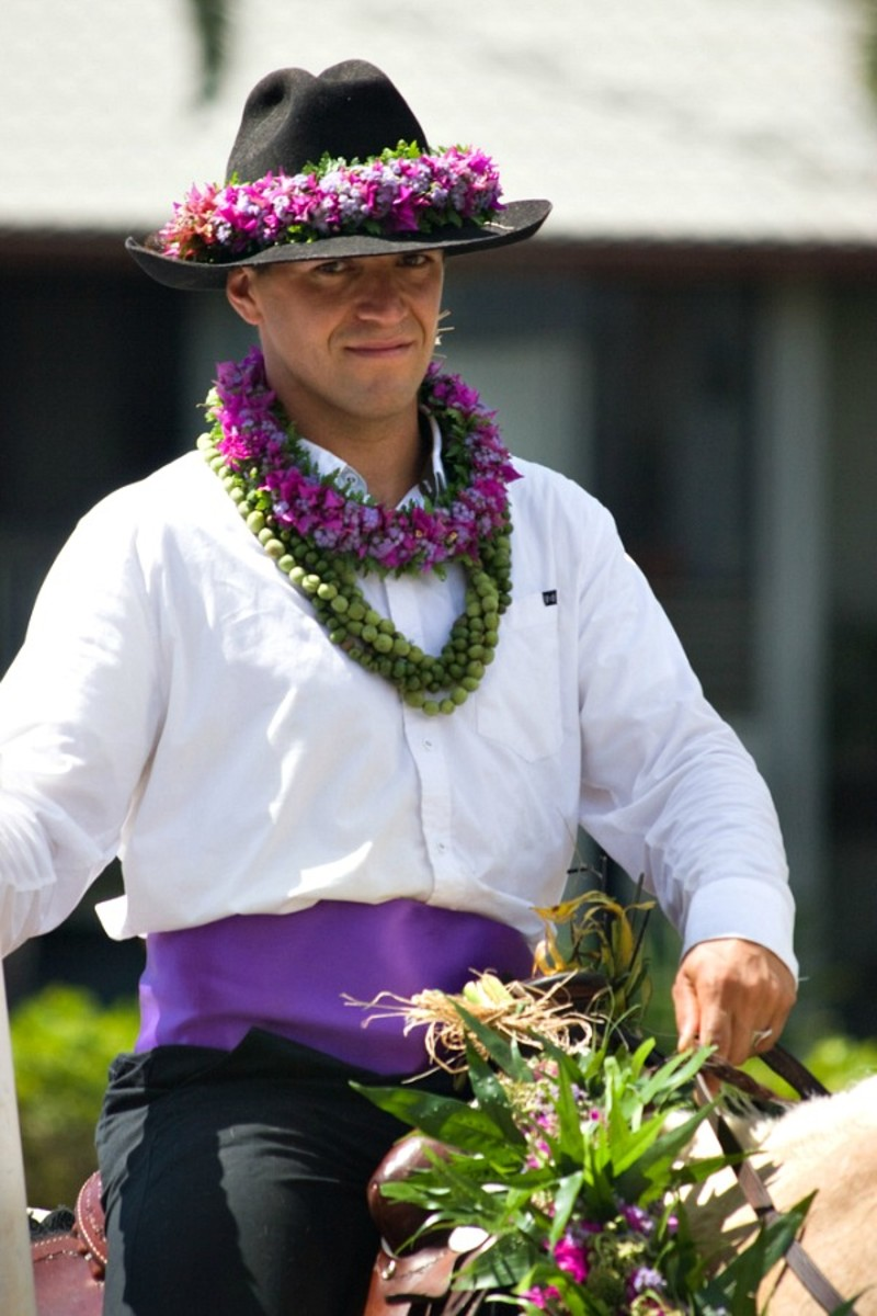 Pa`u Out Rider Representing the Island of Kaua'i