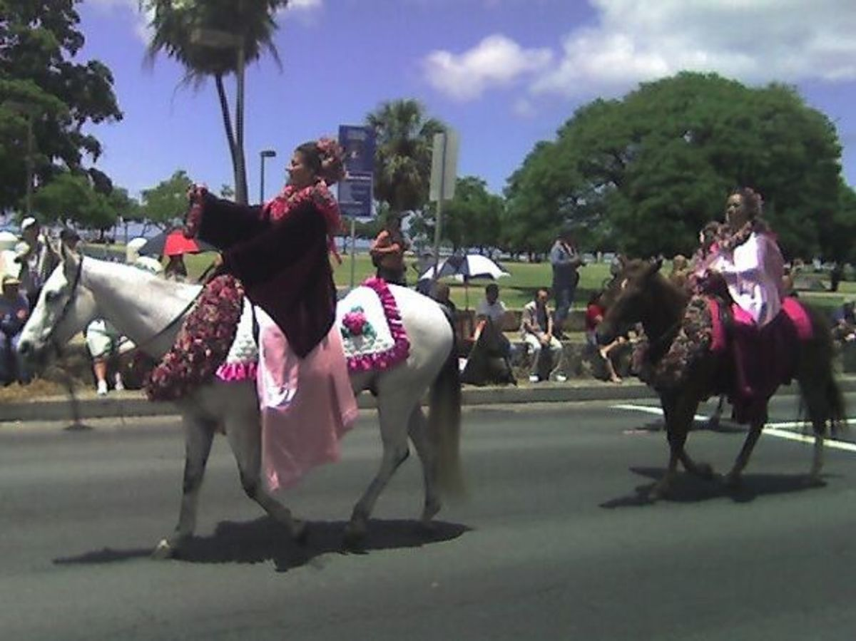 Pau Rider Representing Island of Maui in Honolulu's King Kamehameha Day Parade