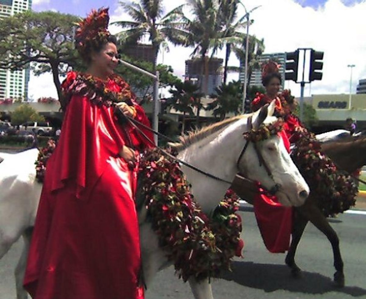 Pau Rider Representing Island of Hawaii in Honolulu's King Kam Parade