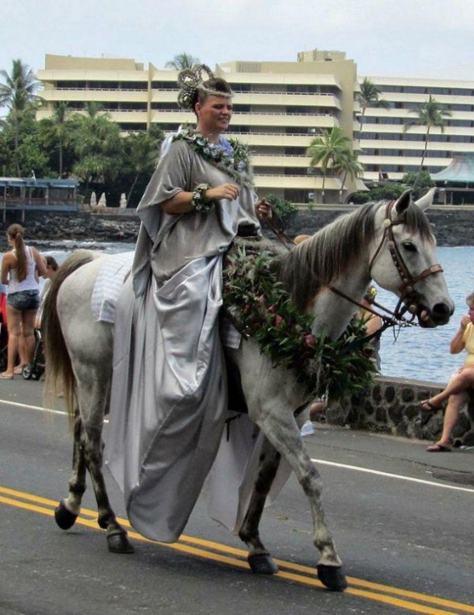 Kaho'olawe Princess Pau Rider Representing Island of Lanai in Kona's King Kamehameha Day Parade